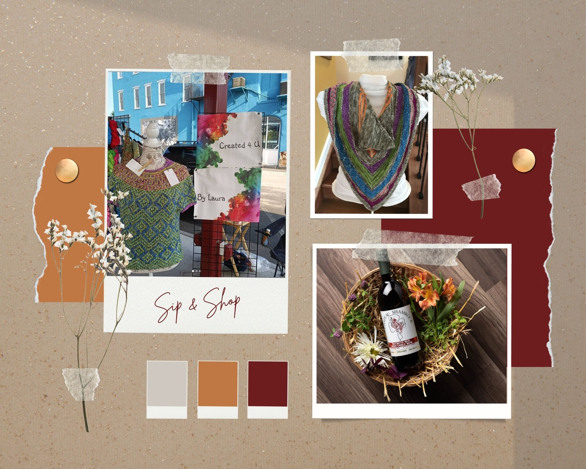 Brown and Maroon Realistic Color Inspiration Moodboard Photo Collage